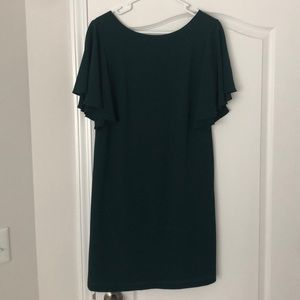 Dark Green Shift Dress with Flutter Sleeves Size 4